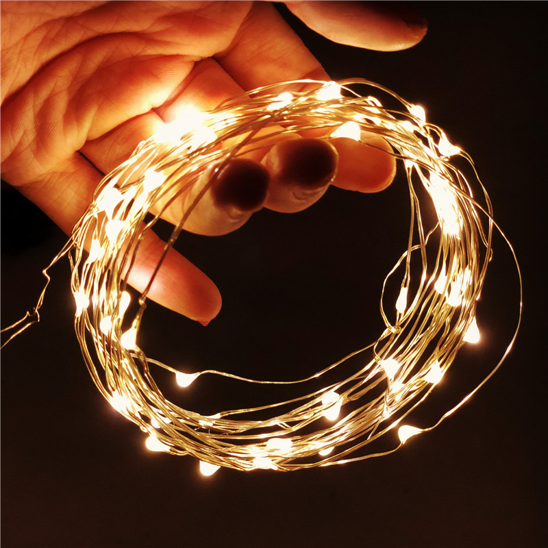 Copper Wire LED Star Lamp String Lights Holiday Lighting Fairy Garland For Christmas Tree Wedding Party Decoration Battery USB