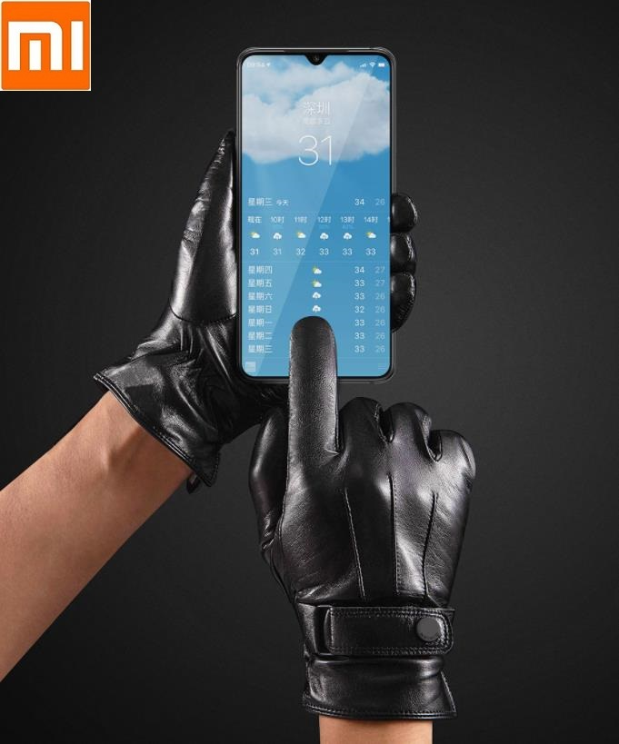 Xiaomi Qimian Touch Screen Warm Sheep Leather Gloves Non-Slip Fashion Men Women Wool Full Finger Gloves Driving Gloves