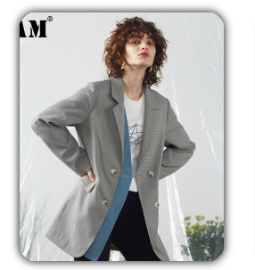 [EAM] 2020 New Spring Lapel Long Sleeve Solid Color Black Gray Split Joint Loose Big Size Jacket Women Fashion JC969 69
