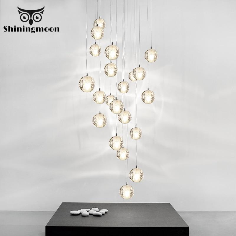 Modoren bola de vidro cristal pingente luzes nordic salão do hotel sala estar hanglamp arte lustres cozinha led lâmpada pingente luxo