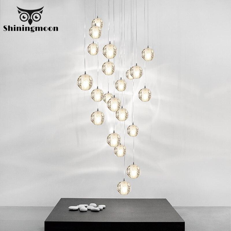 Modoren di Cristallo di vetro del pendente della sfera luci nordic hotel sala soggiorno hanglamp arte lustri Della Cucina di lusso ha condotto la lampada a sospensione