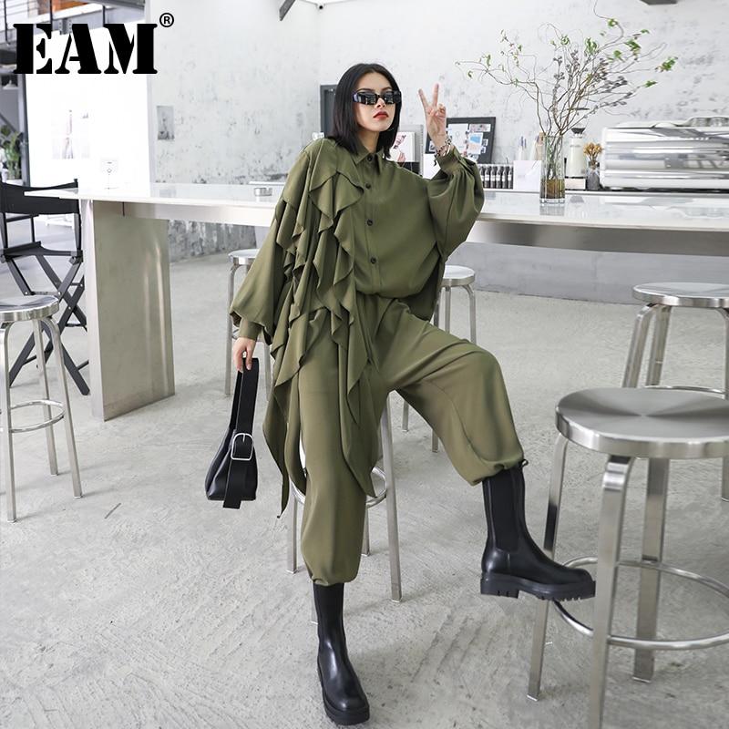 [EAM]-pantalones de pierna ancha con volantes, traje de dos piezas de talla grande, solapa, manga larga, holgado, negro, para mujer, moda de primavera y otoño 2020, 1Z84706
