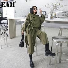 [EAM] pantaloni a gamba larga con volant abito a due pezzi di grandi dimensioni nuovo risvolto manica lunga nero sciolto moda donna primavera autunno 2021 1Z84706