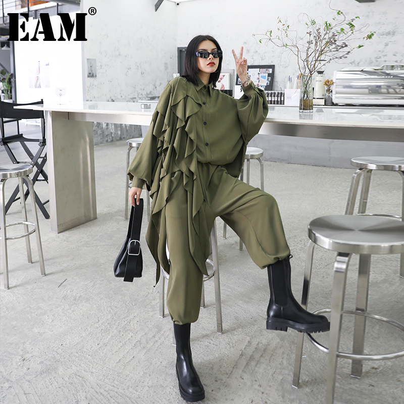 [EAM] pantalones de pierna ancha volantes talla grande traje de dos piezas solapa nueva manga larga negro suelto mujer moda Primavera otoño 2020 1Z84706