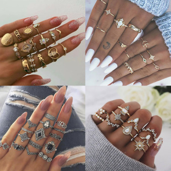 GTQ Gold Heart Midi Ring Sets For Women New Anillos Vintage Leaf Flower Crystal Opal Knuckle Rings Female Bohemian Jewelry image