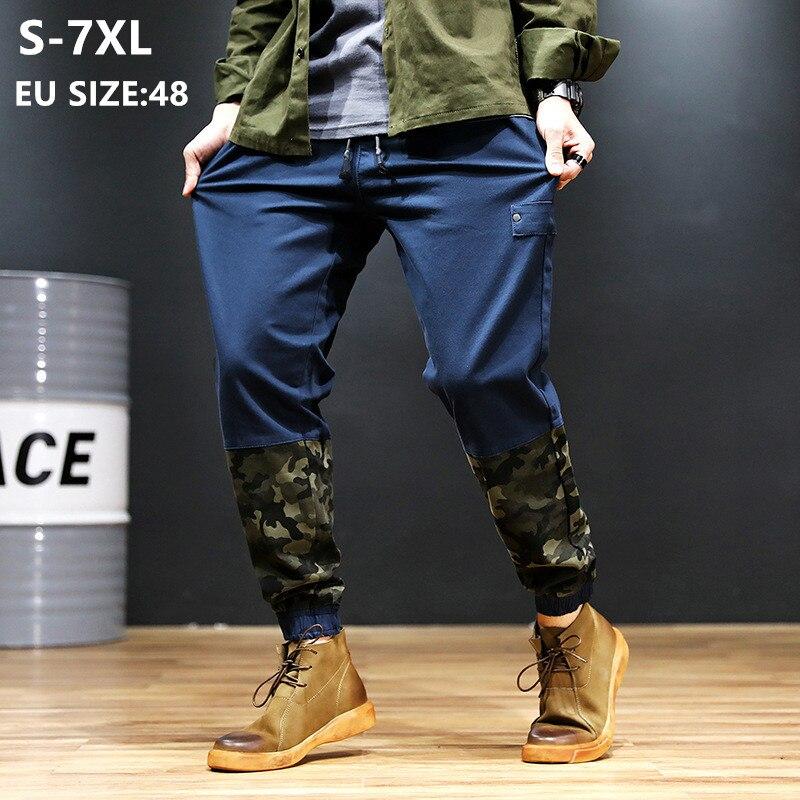 Harem Pants Men Black Camouflage Patchwork Casual Joggers Hip Hop Mens Jogger Track Blue Elastic Plus Size 6XL 7XL Boys Trousers