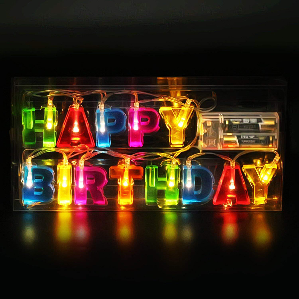 Christmas Decorative Festoon Letter Happy Birthday String Light 1.3M 13LED Fairy Lights Battery Power Garland Holiday Party Lamp