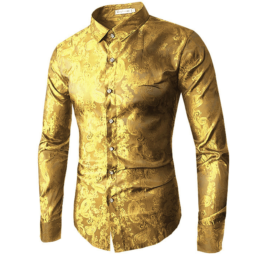 Men Shirts Long Sleeve Embroidery Dress Shirt 2019 Spring Autumn Fashion Red Gold Purple Blue Slim Wedding Party Tops