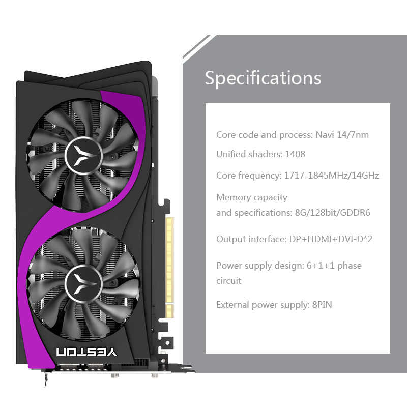 ايستون راديون RX 5500 XT GPU 8GB GDDR6 128bit 7nm كمبيوتر مكتبي الألعاب الكمبيوتر بطاقات الرسومات الفيديو دعم DP/HDMI/DVI-D
