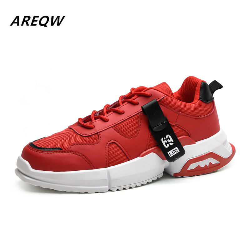 2019 Men's Outdoor Sports Shoes Mesh Breathable Thick-soled Color Matching Laces Casual Shoes Comfortable Korean Men's Shoes image
