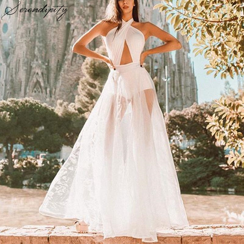 White Halter Lace Backless <font><b>Sexy</b></font> <font><b>Dress</b></font> Women Christmas <font><b>Night</b></font> <font><b>Club</b></font> Autumn Beach <font><b>Dress</b></font> Elegant <font><b>Dresses</b></font> <font><b>Transparent</b></font> Sleeveless Solid image