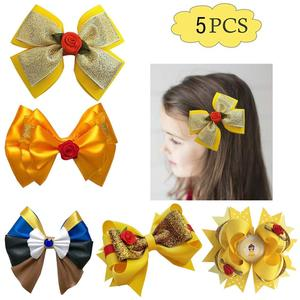 Бесплатная доставка, 5 шт., банты для волос принцессы, желтые, красные, красивые заколки для волос для девочек, аксессуары для волос