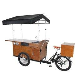T04D 2019 odkryty rower do sprzedaży kawy dla fast food trójkołowy ze stali nierdzewnej skórzany dach