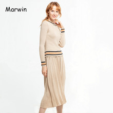 Marwin New-Coming Autumn Winter Warm Soft High Street Style Women's Sets Casual Mid-Calf Skirts Elastic Waist Sweaters Sets(China)