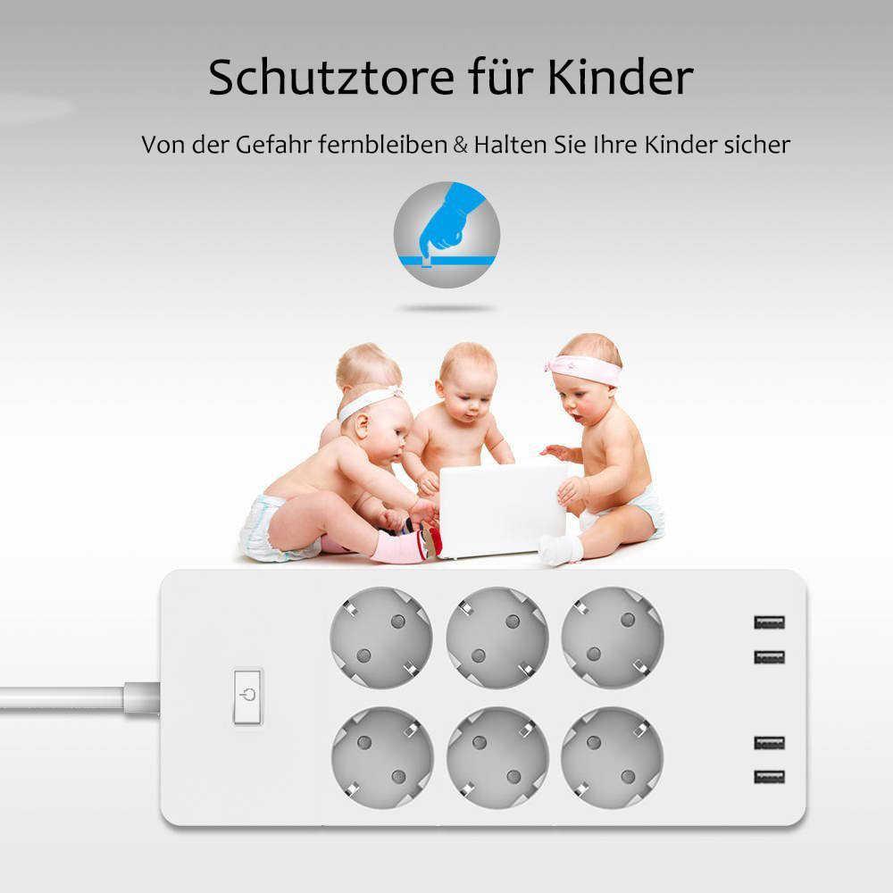 Wifi Smart Power Strip Eu Surge Protector Met 6 Manier Ac Socket 4 Usb-poort Home Schakelaar Compatibel Alexa google Assistent
