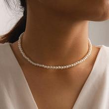 Элегантное белое ожерелье-чокер с имитацией жемчуга, свадебное ожерелье с большим круглым жемчугом для женщин, очаровательные модные ювели...