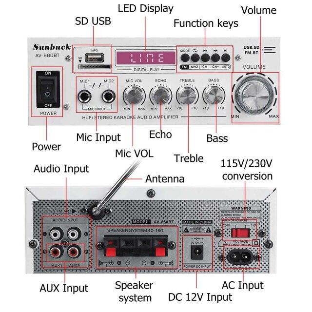 Усилитель мощности SUNBUCK AV-660BT, 2.0, Bluetooth