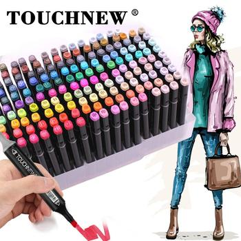 touchnew 40 60 80 168 colors graphic marker pens set sketch manga art student markers white pen TouchNew Art Markers Sets 30/40/60/80/168 Colors Anime Student Design Sketching Markers Manga Alcohol Markers Pen for Drawing