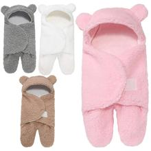 Fashion Newborn Baby Hooded Blanket Towel Winter Infant Cotton Warm Sleeping Swaddle Bag For Kids