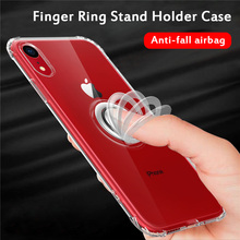 Shockproof Transparent Case for iPhone 11 2019 on Pro Max Elastic Ring Holder Soft TPU Cover XR XS