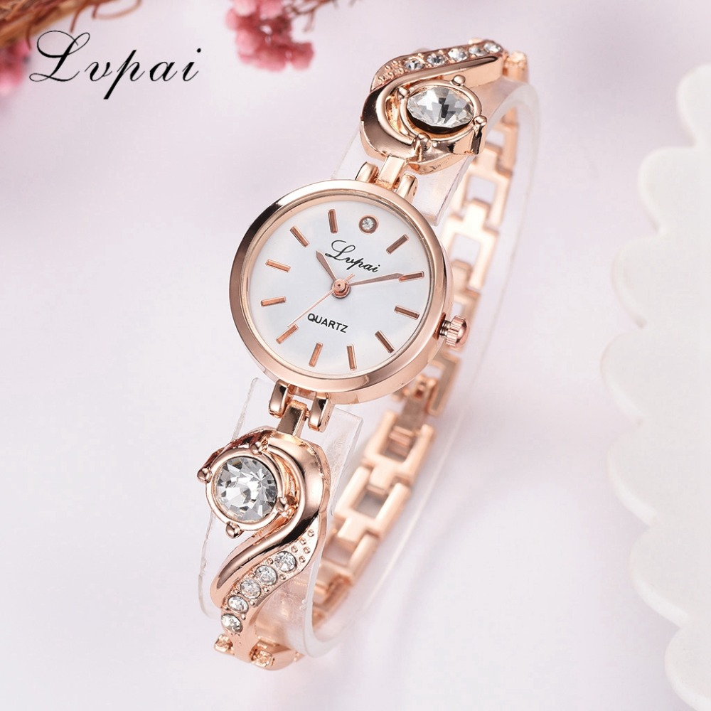 Lvpai Brand Luxury Rhinestone Watches Women Quartz Bracelet Watches Ladies Dress New Fashion Rose Gold Clock Relogios Kol Saati