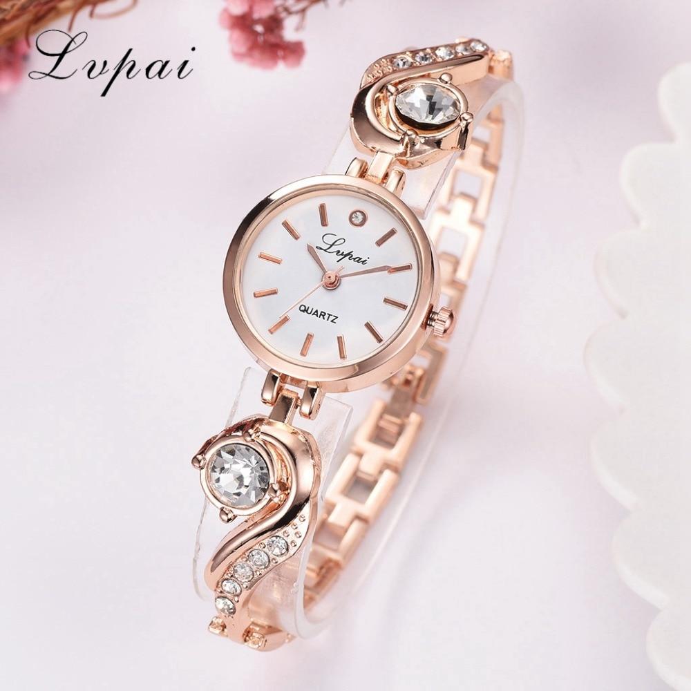 Lvpai Brand Luxury Rhinestone Watches Women Quartz Bracelet Watches Ladies Dress New Fashion Rose Gold Clock Relogios Kol Saati