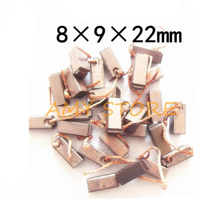 10Pcs Copper Carbon Brush For Vehicle Automobile Car Truck Heater Blower Fan Air-Blower Car Motor Carbon Brushes 8x9x22mm