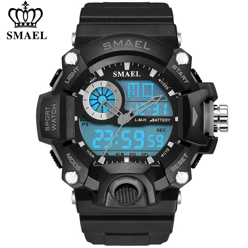 SMAEL Men Sports Watches LED Digital Watch Fashion Outdoor Sport Waterproof Male Army Military Wristwatch Electronic Clock Mens