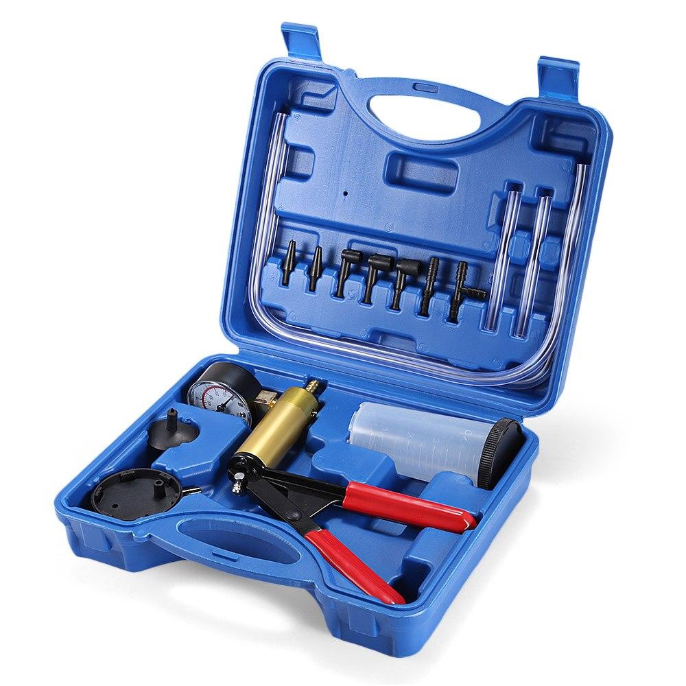 2 In 1 DIY Car Brake Fluid Bleeder Vacuum Pistol Pump Auto Manual Hand Held Tester Kit Vacuum Gauge