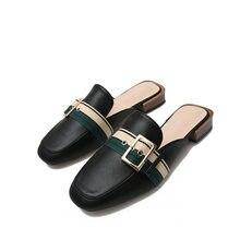Artı boyutu 43 moda kemer tokası katır ayakkabı kalın topuk rahat terlik slaytlar ofis elbise ayakkabı deri sandalet ayakkabı kadın