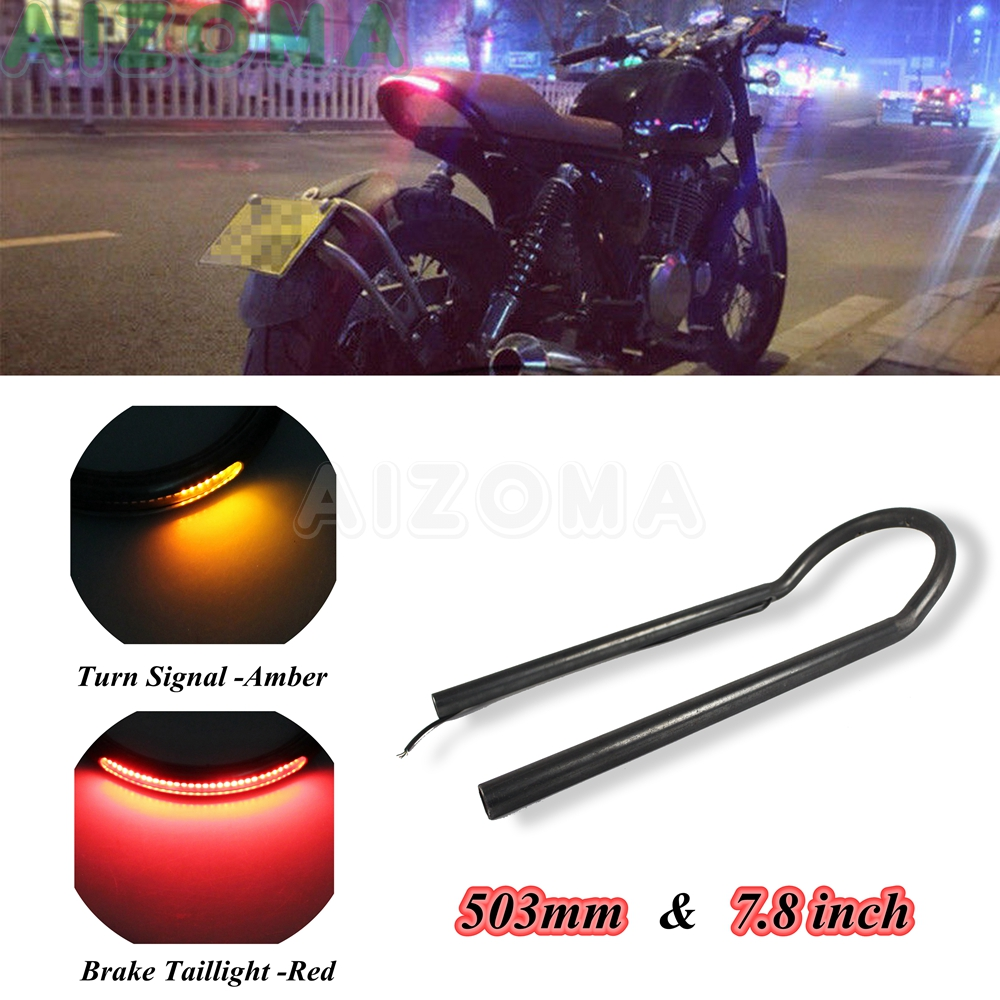 Cafe Racer Upswept Tracker Seat Frame Loop Hoop w/ LED Brake Signal Tail Light for Harley Honda Yamaha CB CG CD XS XJR SR GT BMW