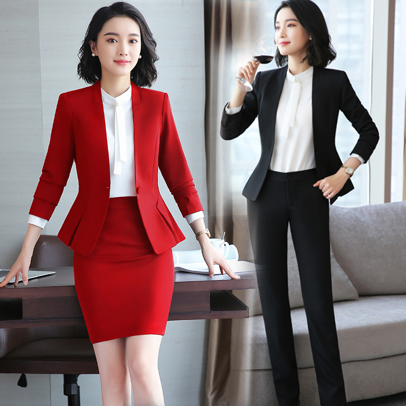 2020 Formal Elegant Office Work Wear Uniform OL Ladies Trousers Skirt Suits 2 Pieces With Tops Blazers Zer 2 Pieces Sets Clothes
