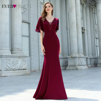 Sexy Burgundy Prom Dresses Ever Pretty Short Sleeve Appliques Draped Ruffles Mermaid Formal Party Gowns Long Robe De Soiree 2020