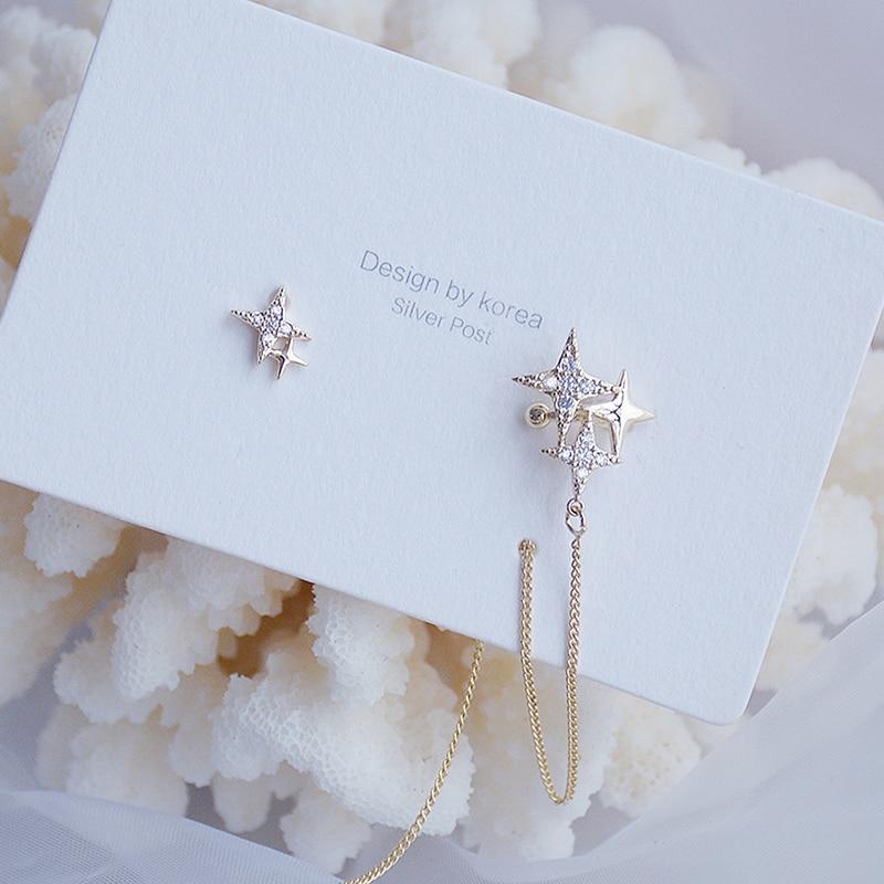 Charm Bling Asymmetry Star Women Earring Temperament Tassel Chain Fashon Stud Earring Wedding Accessories Valentine's Day
