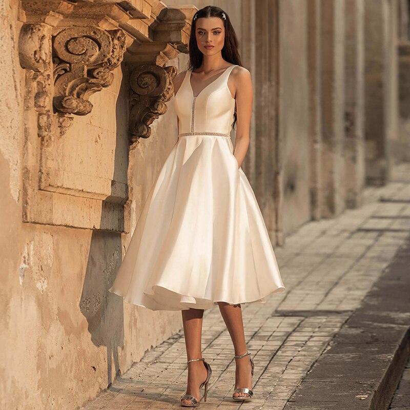 Robes De Mariée Luxury Matte Soft Satin A Line Wedding Dresses Sleeveless V-neck Sweetheart Gowns Backless Knee-length