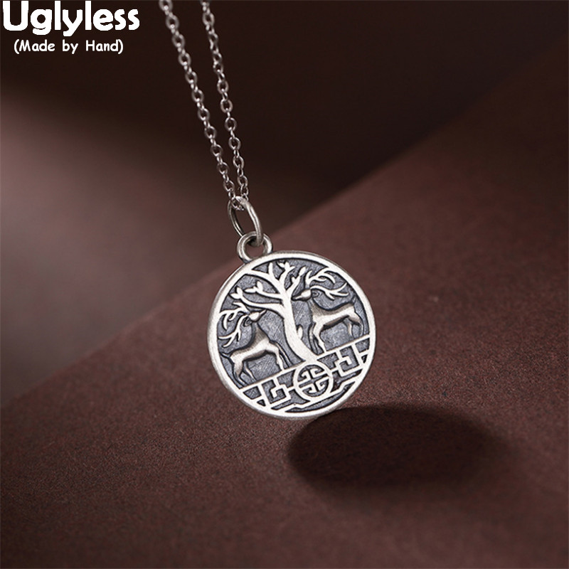 Uglyless Running To Happiness Embossed Deers Hope Tree Pendant Necklaces NO Chain Vintage Medal Jewelry 925 Silver Deer Necklace