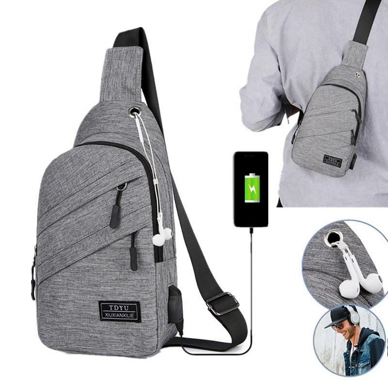 USB Charging Oxford Crossbody Bag Men Anti-theft Chest Pack Summer Short Trip Messengers Bag Water Repellent Shoulder Bag