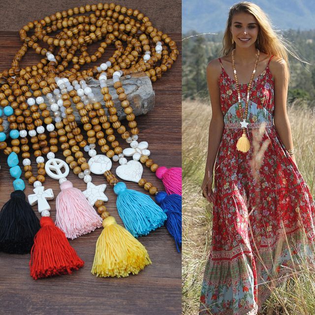 Yumfeel New Bohemian Necklace Handmade Stones Tassels Wood Beads Necklace Long Women Jewelry Gifts 3