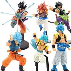25 CM Goku Dragon Ball Super Movie Broly TAG Fighters Goku Vegeta Gogeta Blue Hair Figure Torankusu Brinquedos PVC Action Figure