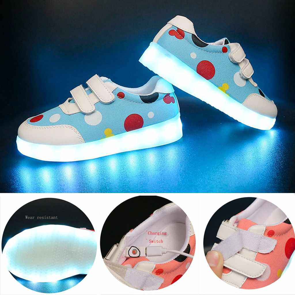Kids Shoes Child Charging USB Led Light Sneakers for Girls New Brand Rhinestone footwear Casual Shoes With Light Walking Sneaker