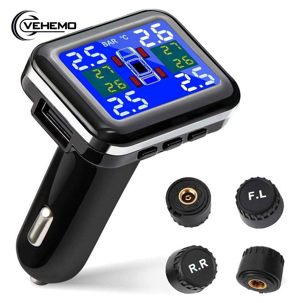 TPMS Zigarette Leichter Stecker USB Tire Pressure Monitoring System LCD Display Bildschirm Externen Sensor Auto Alarm tmps Für Honda etc