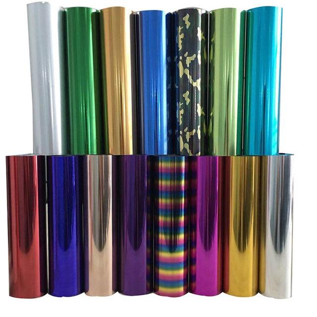 Бесплатная доставка, 25 см x 100 см, металлик и лазер, теплопередача, винил, камуфляж, радуга, термоклейкая пленка, футболка, пленка
