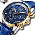 Relojes Hombre 2019 LIGE عادية الأزرق جلدية موضة ساعة كوارتز الرجال العسكرية Wateproof ساعة رجل كبير الهاتفي تاريخ كرونوغراف + صندوق