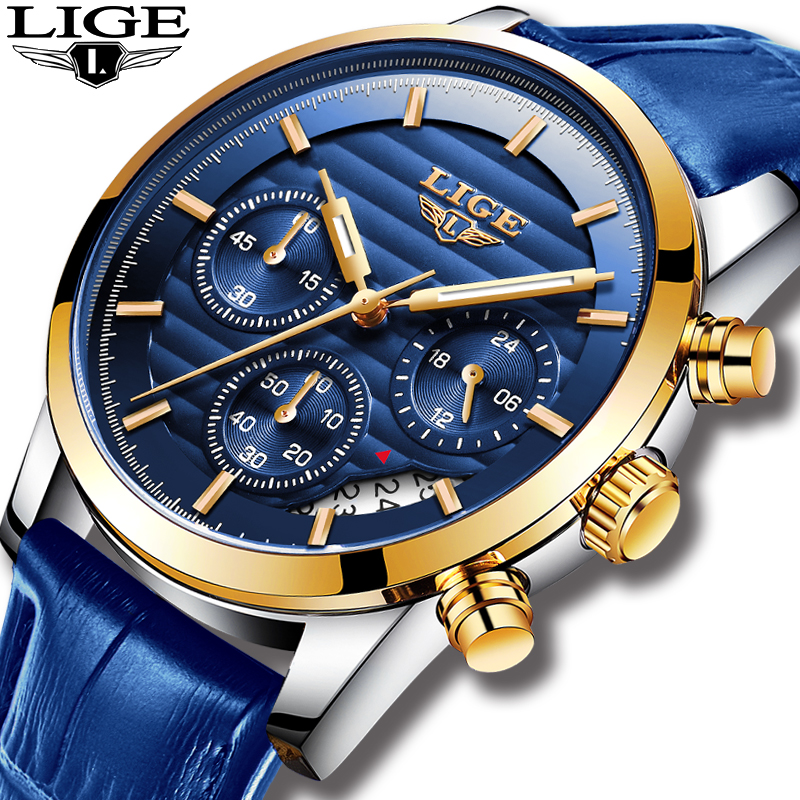 Relojes Hombre 2019 LIGE Casual Blue Leather Fashion Quartz Watch Men Military Wateproof Clock Man Big Dial Date Chronograph+Box