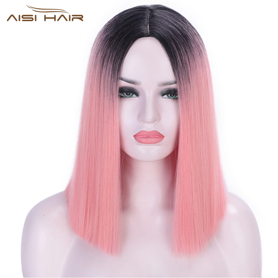 I's A Wig Ombre Pink Wig Short Straight Synthetic Wigs For Women Blunt Cut Bob Wigs Can Be Cosplay Middle Part Nature Hair