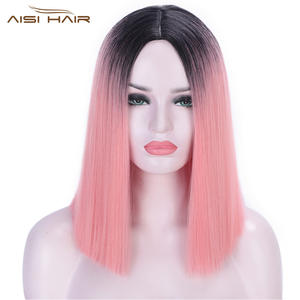 Synthetic Wigs Short Blunt-Cut Can-Be-Cosplay Middle-Part Straight Ombre Women Nature-Hair