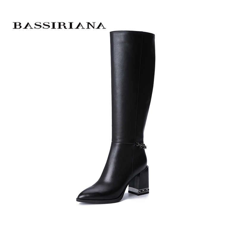 Bassiriana yeni 2019 hakiki deri yüksek çizmeler klasik yüksek topuklu ayakkabı kadın yuvarlak ayak Zip bahar 35-40
