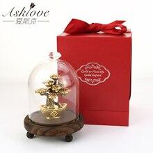 풍수 행운의 나무 금박 돈 나무 분재 사무실 탁상 행운의 부 장식품 선물 홈 인테리어 선물 상자