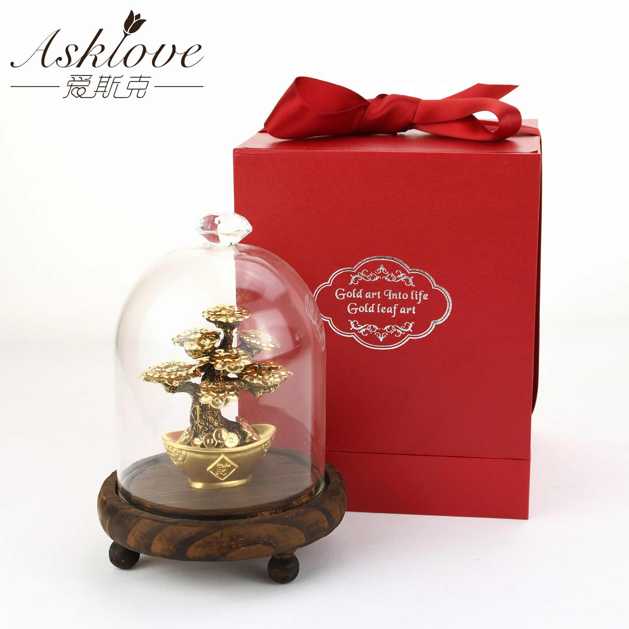 Feng Shui Fortune Tree ทองฟอยล์เงินต้นไม้ Bonsai Office Tabletop ความมั่งคั่งโชคดีเครื่องประดับของขวัญตกแต่งของขวัญกล่อง