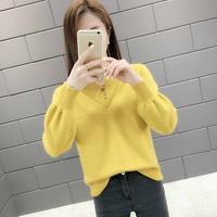 Winter Autumn Basic Women Sweaters Pullover Khaki Yellow Green Cheap Top Women O neck Loose Autumn Knitted Sweater Pullovers